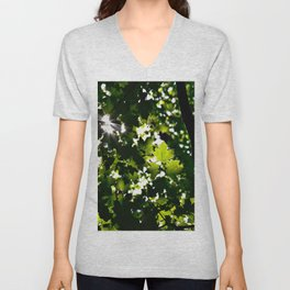 Green Maple Leaf PattrnTree Leaves Parallax Sunshine Shows Leaves Green Color Unisex V-Neck