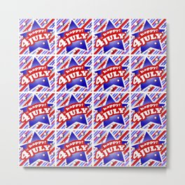 Happy 4th of July Graphic Pattern Metal Print
