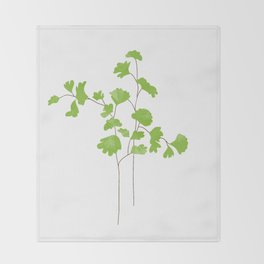 Maidenhair Fern Illustration Botanical Print Throw Blanket