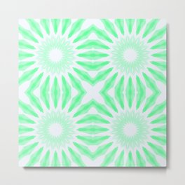 Seafoam Watercolor Pinwheel Flowers Metal Print