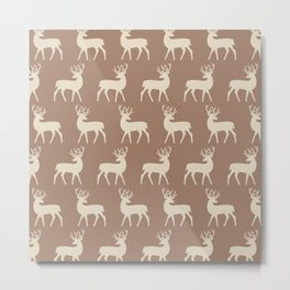 Mid Century Modern Deer Pattern Brown and Tan Metal Print