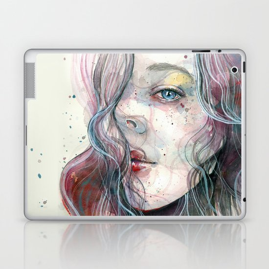 Sleepy violet, watercolor Laptop & iPad Skin