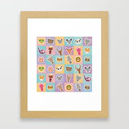 funny animals muzzle pattern with pink lilac blue orange square Framed Art Print