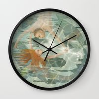 the little mermaid Wall Clocks featuring Little Mermaid by Fizzyjinks