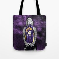 lakers Tote Bags featuring Marilyn Monroe Los angeles Lakers with tattoos by Three Second