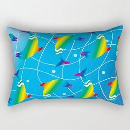 Rainbow Dolphins on the Wave_E Rectangular Pillow