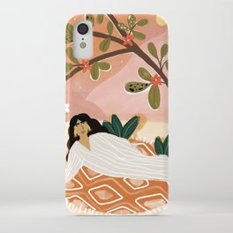 Laying under the full moon iPhone Case