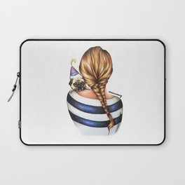 Brunette Braid Hairstyle Girl with Pug Dog Drawing Laptop Sleeve
