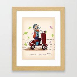 Man on a Scooter Framed Art Print