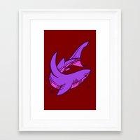 shark Framed Art Prints featuring Shark by Artistic Dyslexia