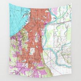Vintage Map of Everett Washington (1953) Wall Tapestry