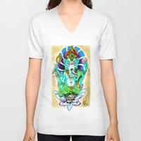 ganesh V-neck T-shirts featuring Ganesh by Lady Noire