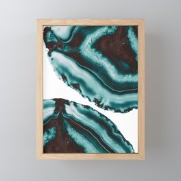 Turquoise Brown Agate #1 #gem #decor #art #society6 Framed Mini Art Print