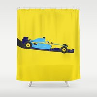 f1 Shower Curtains featuring Alonso Renault F1 by Salmanorguk