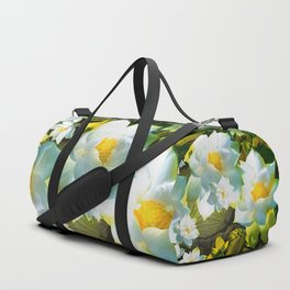 """""""White flowers forest"""" Duffle Bag"""