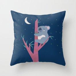 Sleeping Koala in Flowering Gum Throw Pillow