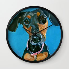 Sassy the Dashchund Dog Portrait Wall Clock