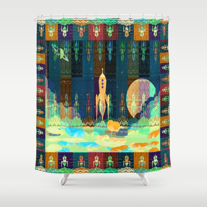 Space Rocket Frame Retro Collage Shower Curtain