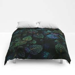 Deep Dark Leaves Comforters