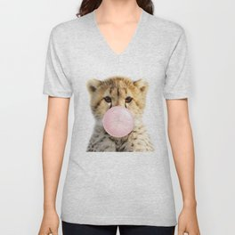 Baby Cheetah Blowing Bubble Gum, Pink Nursery, Baby Animals Art Print by Synplus Unisex V-Neck