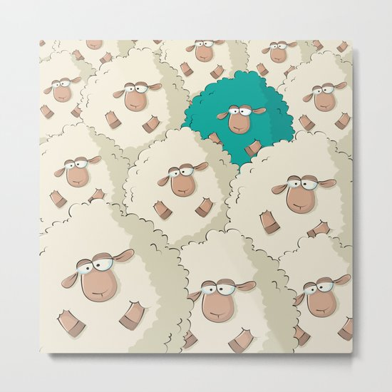 Sheep Pattern | Turquoise Metal Print