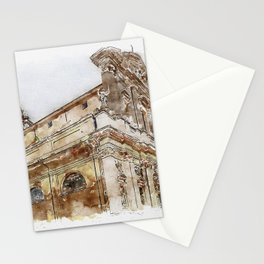 Aquarelle sketch art. View to the historical buildings Stationery Cards
