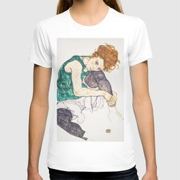 Girl sitting with knees up by Egon Schiele T-shirt