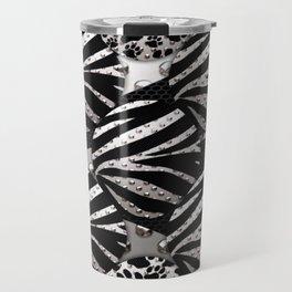 Glossy Silver&Black Zebra/Cat Paws Metal Texture Travel Mug