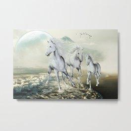 White Horses On The Beach Metal Print