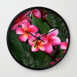 Hawaiian Sunrise Plumeria Wall Clock
