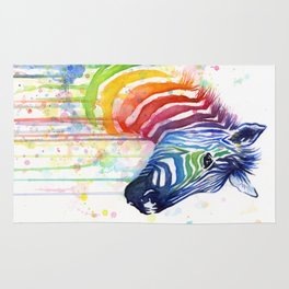 Zebra Rainbow Watercolor Whimsical Animal Rug
