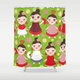 Seamless pattern spanish Woman flamenco dancer. Kawaii cute face with pink cheeks and winking eyes. Shower Curtain