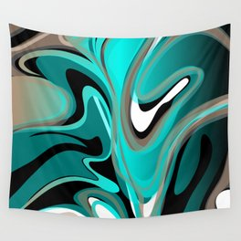Liquify 2 - Brown, Turquoise, Teal, Black, White Wall Tapestry