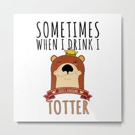 Otter Marten Weasel Wine Drinking Funny Animal Gift Metal Print
