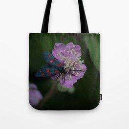 New forest burnet on purple flower Tote Bag
