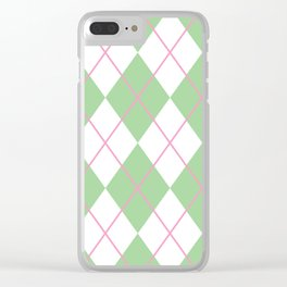 Green Argyle Clear iPhone Case