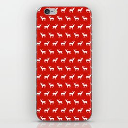 Christmas deer reindeer red and white minimal modern silhouette holiday pattern print design iPhone Skin