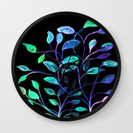 Do Not Go Into The Night, Red and Green Leaves Wall Clock