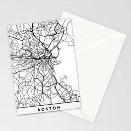 BOSTON MASSACHUSETTS BLACK CITY STREET MAP ART Stationery Cards