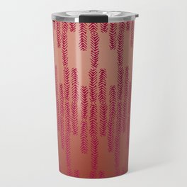 Eye of the Magpie tribal style pattern - dark rose on copper Travel Mug