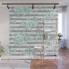 MINT FLORAL GRAY STRIPES SPRING Wall Mural