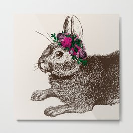The Rabbit and Roses | Vintage Rabbit with Flower Crown | Rabbit Portrait | Bunny Rabbits | Bunnies Metal Print