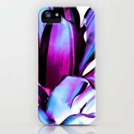 Plant Leaves Abstract Magenta Blue Purple iPhone Case