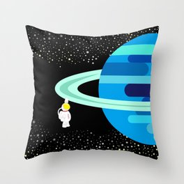 Space Odyssey | Astronaut & Planet | Space | Saturn | Galaxy | pulps of wood Throw Pillow