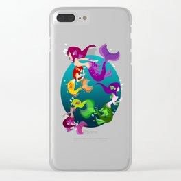 Festive Mermaids Clear iPhone Case