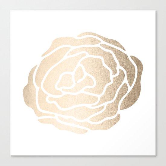 Rose White Gold Sands on White Canvas Print