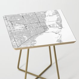 Miami White Map Side Table