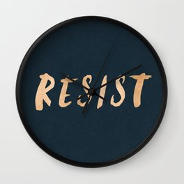 RESIST 7.0 - Rose Gold on Navy #resistance Wall Clock