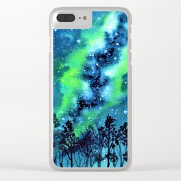 Green and Blue galaxy watercolor painting Clear iPhone Case