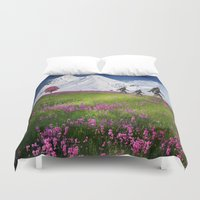 bigfoot Duvet Covers featuring Bigfoot Mountain Meadow by D.A.S.E. 3